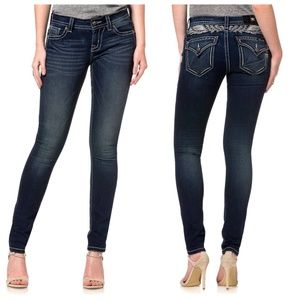 Miss Me Angelic Flap Pocket Skinny Jeans Sz 24 #86